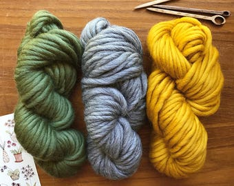 Super Chunky Merino Yarn Set - 150 grams - Olive / Grey / Mustard