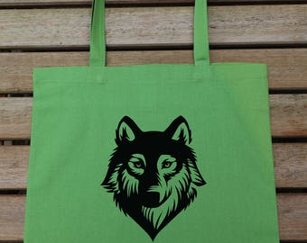 Wolf Tote Bag, Cotton Fashion Bag, Carrier Bag, Market Bag, Funny Tote, Gift For Her 63