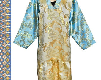 main festival traditional uzbek tunic dress golden brocade b406