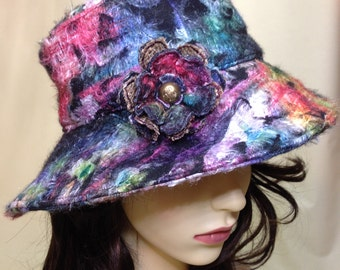 Ladies Embellished Wide Brimmed Hat with Brooch