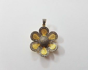 Silver Pave Genuine Diamond Flower Pendent 35 MM