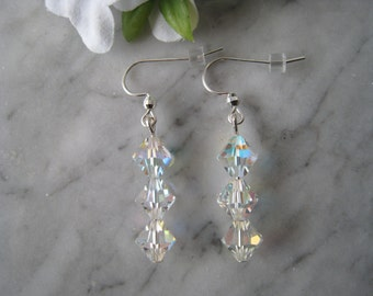 All Clear AB Swarovski Crystal Earrings with Sterling Silver Earwires/Wedding/Bridal/All Occasion/Gift/Swarovski Crystals