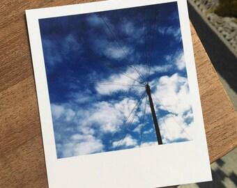 Sky photograph print // Brighton // blue sky // clouds // retro style // small // minimal