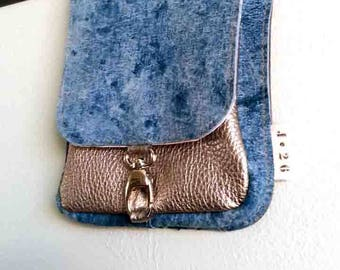 leather hip bag, festival bag, leather belt bag, fanny pack, blue, silver, woman, gift for her