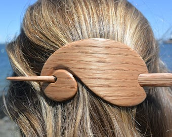 Oak Wooden Hair Stick, Wooden Barrette
