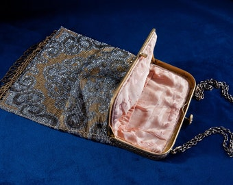 Art Nouveau Micro Beaded Purse Hand Bag, France, 1925