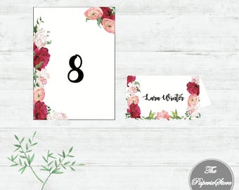 Place Card and Table Number Card Template up to 70 pieces   Calligraphy Script with pretty flower pattern   Wedding or Celebration Event