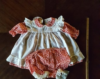 Vintage Red and White Baby Doll Dress with Bloomers