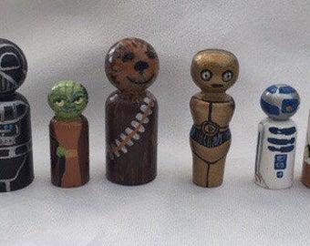 Starwars Set - Hand Painted wooden peg dolls   EYFS/ Gift /Education / Smallworld / Disney
