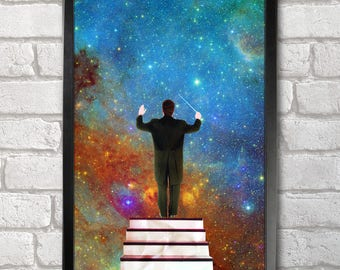 Stars Conductor Poster Print A3+ 13 x 19 in - 33 x 48 cm Space Collages Buy 2 get 1 FREE