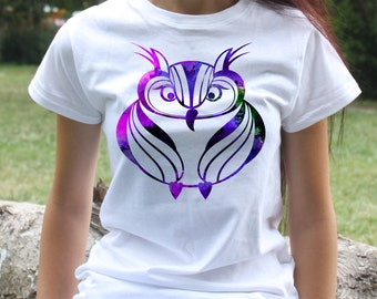 Cool Owl T-shirt - Bird Tee - Fashion women's apparel - Colorful printed tee - Gift Idea