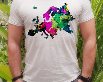 European t-shirt - Map tee - Fashion men's apparel - Colorful printed tee - Gift Idea