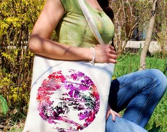 Garden tote bag -  Cool shoulder bag - Fashion canvas bag - Colorful printed market bag - Gift Idea