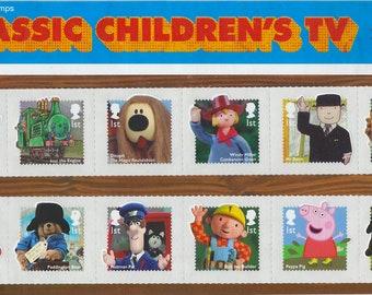 Classic Children's TV presentation pack issued by Royal Mail in 2014. Pack contains 12 mint 1st class stamps of children's TV characters.