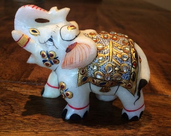 White Marble Elephant Figurine Hand-Carved Hand-painted Gilded Good luck gift Sculpture