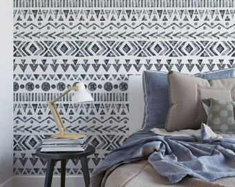 Watercolor Bohemian Removable Wallpaper Tribal Black And White Temporary Mudcloth Boho Self Adhesive