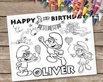 Smurfs Coloring Pages, Smurfs Birthday Party, The Lost Vilage Digital favor, 6 Party Activity Pages, Smurf Coloring Sheets
