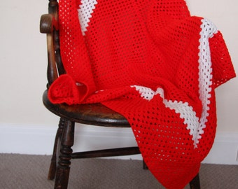 Hand Crocheted square Red & White Blanket