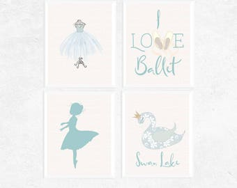 Ballet Printables | 4 Set | Ballet Prints | Blue Art | Girl's Bedroom Art | Dance Printable | Ballerina Gift | Ballet Art