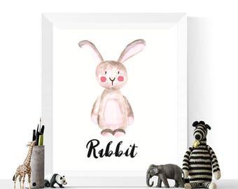 Rabbit Printable | Rabbit Watercolor Printable | Woodland Animals | Watercolour | Animal Print | Woodland Animal Print | Bunny