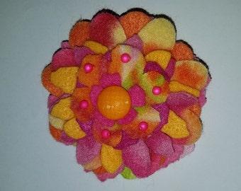 Pink and orange flower  hair pin