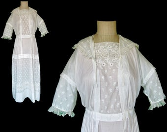 REDUCED!!!  Circa 1900's Edwardian White Lawn Dress