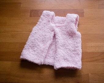 Baby girl waistcoat super soft pink hand knit