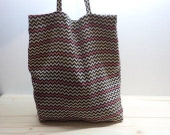 1950s Vintage hand-sewn market bag,fabric bag,zig-zag pattern