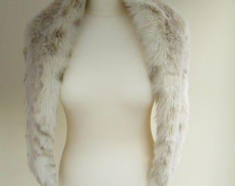 Vintage Faux Fur Wrap Collar Stole Cowl | Vintage | Cream | Zepla |