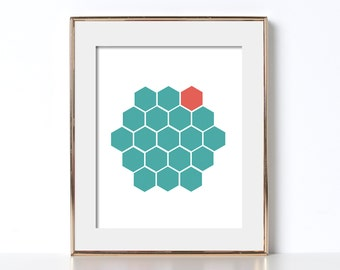 Geometric Art Hexagon Poster Hexagon Print Teal Poster Teal Print Orange Poster Digital Download Abstract Geometric Printable Hexagon Print