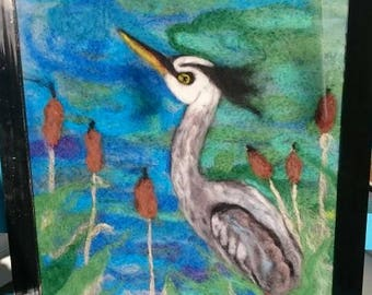 Felted blue Heron picture. Needle felted picture Heron wool painting. Heron wool art. Blue heron.
