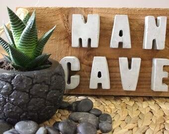 Man Cave Wooden Concrete Sign