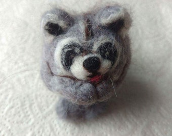 Needle felted raccoon ball