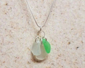 Lake Erie Beach Glass Cluster Necklace- FREE SHIPPING!