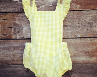 Baby girls yellow gingham bubble romper 6 months