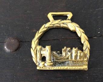 "Vintage ""Conway Castle & Bridge"" Horse Brass / Farm / Country / Rustic / Bridle"