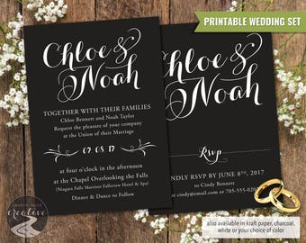 PRINTABLE Personalized Wedding Invitation Set, Invite & RSVP Suite, Elegant Script Name Logo, Black, White, Kraft Paper, Grey, Digital File
