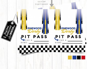 Cub Scout Pinewood Derby Pit Passes, Blue, Yellow, Checkered Race Car, Blue & Gold Race Car Party | INSTANT Download 4x6 JPG