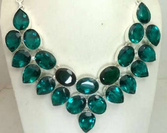 Green topaz facited 925 sterling silver plated handmade jewelry necklace