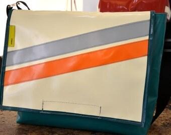 Recycled truck tarpaulin Shoulder bag Messenger Bag in orange/white/Blue Water Resistant Laptop messenger bag