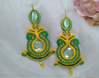 Soutache earrings, green and yellow earrings, flamenco earrings, party earrings, lady complement, Mother's Day,