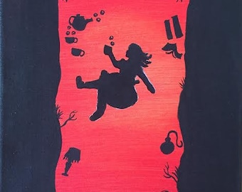 Down The Rabbit Hole Red Painting