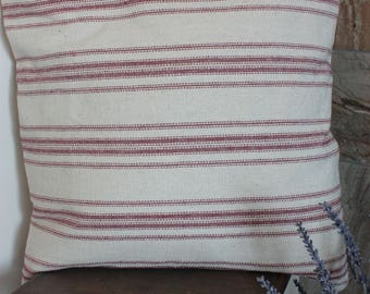 Beige, Red Grain Sack, Feed Sack Style Pillow Cover, Farmhouse Pillow Cover, Rustic Throw Pillow, Vintage Throw Pillow