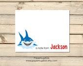 PRINTABLE Shark stationery, Shark Note Cards, Thank You Cards, Personalized Stationery, Note Cards, Ocean life, Shark / Digital File