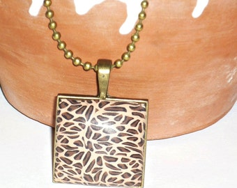 Animal print in polymer clay necklace