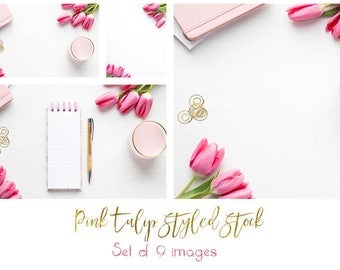 Pink Tulips Styled Stock Photo bundle of 9