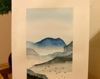 Handmade watercolours painting Gulls among the mountains, Signed