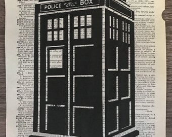 Dictionary Print: Doctor Who inspired Tardis