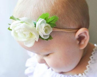 Baby girl headband baby shower gift flower girl small flower crown Ivory Ranunculus