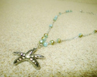 Starfish Pendant Necklace on Blue Beaded Chain